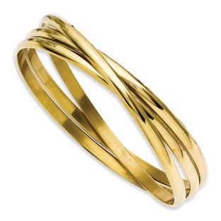 Women's 3 Piece Gold Plated Stainless Steel Intertwined Bangle Set  Women's 3 Piece Gold Plated Stainless Steel Intertwined Bangle Set