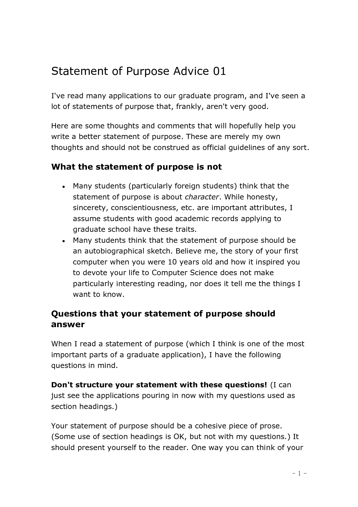 Purpose of a personal statement. From a general summary to chapter ...