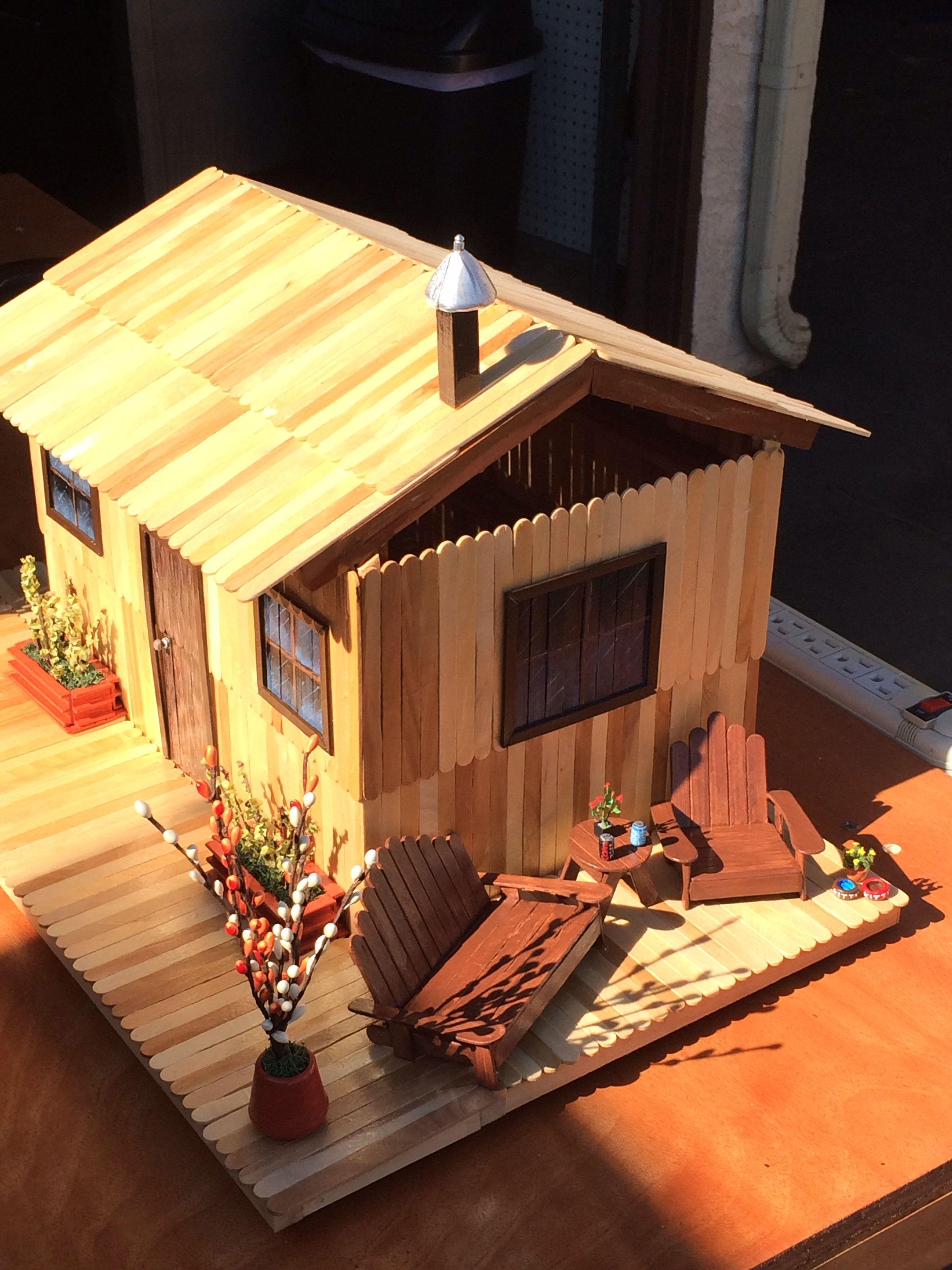 popsicle stick house my arts and crafts pinterest. Black Bedroom Furniture Sets. Home Design Ideas