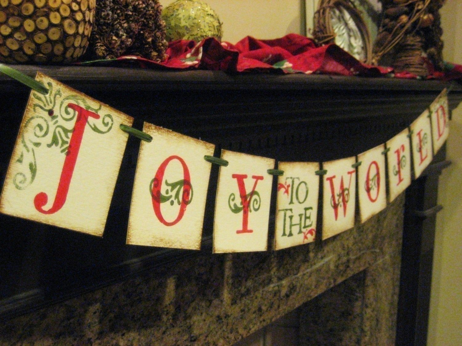 Christmas Decoration JOY to the WORLD  Banner by bekahjennings, $21.00