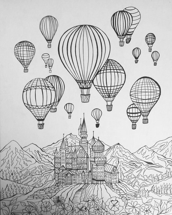 Balloons and Castle Coloring Page and Picture | Globos de aire ...