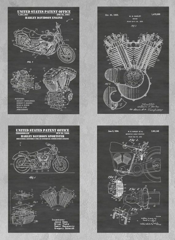 Harley Davidson Motorcycle Engine Poster Print Motorcycle Gift Vintage Harley