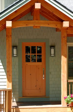 The Reclaimed Douglas Fir Main Entry Door To This Lakeside Home