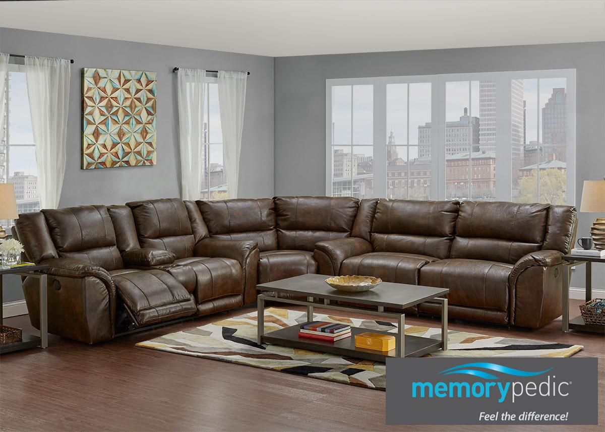 The Carmela Reclining Sectional In Brown Features A Stylish Version Of Clic Silhouette Each Cushion 1 8 Foam Density With Pocket Coil