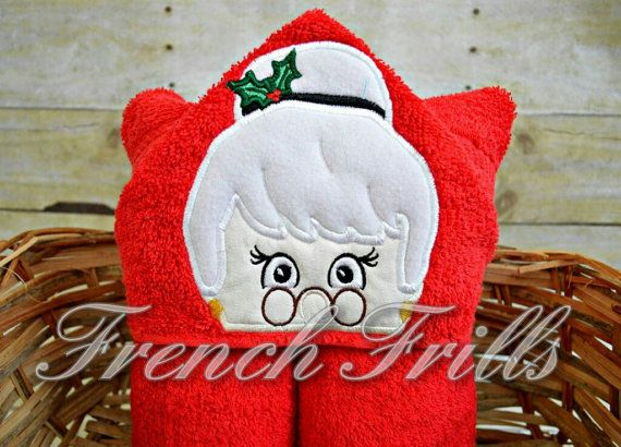 5x7 Mrs Claus Hooded Towel Design by FrenchFrills on Etsy