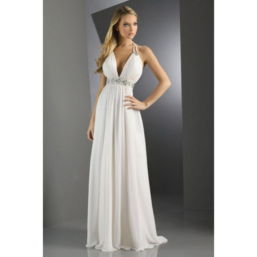 White long halter dresses
