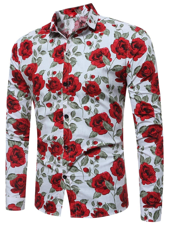 Long Sleeve 3d Roses Print Shirt Mens Print Shirts In 2018