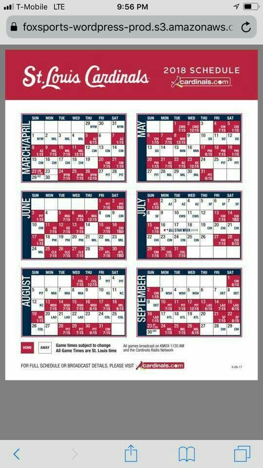 2018 St. Louis Cardinals baseball schedule | St. Louis Cardinals