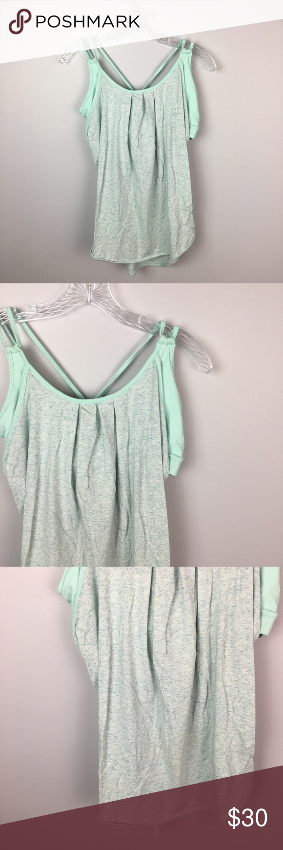 0fca9d565989f Calia built in sports bra tank top mint and grey M Calia by Carrie  Underwood mint green and grey built in sports bra tank top - size medium -  In excellent ...