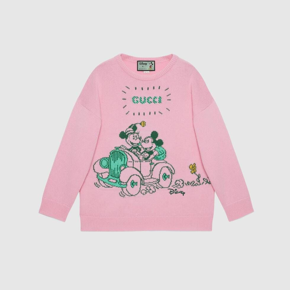 Shop The Disney X Gucci Wool Sweater In Pink At Gucci Com Enjoy Free Shipping And Complimentary Gift Wrapping Wool Sweaters Womens Sweaters For Women Sweaters [ 980 x 980 Pixel ]