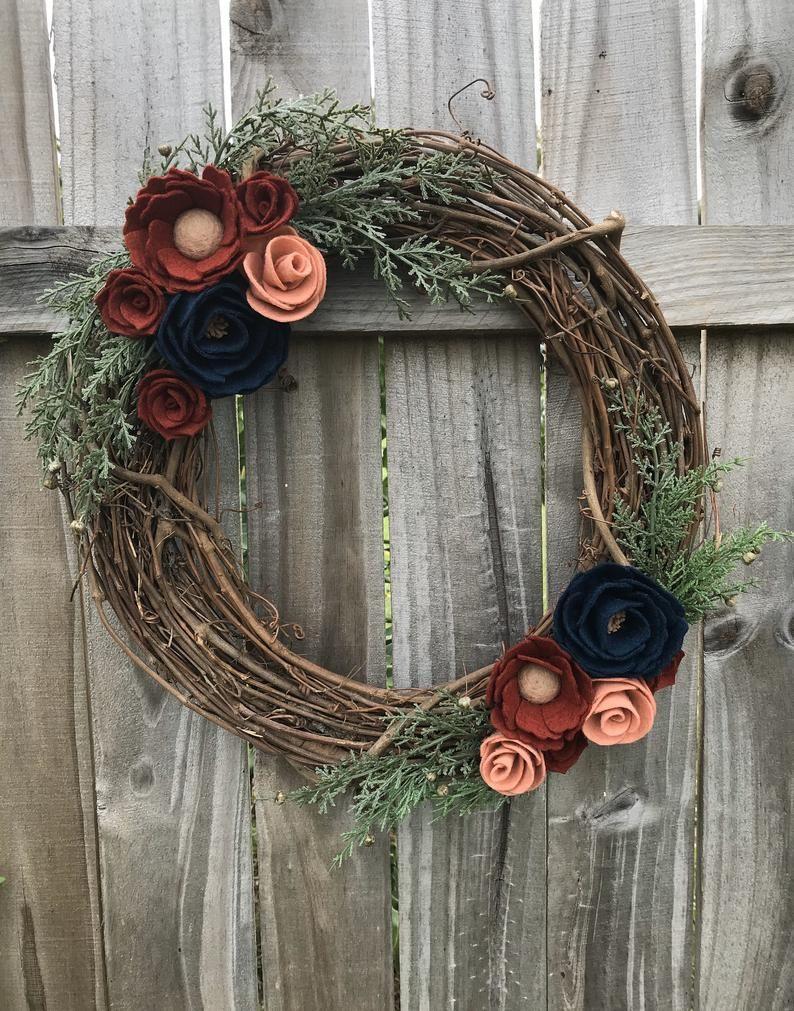 Photo of Felt Flower Winter Door Wreath, Year round Floral wreath, Dark Blue peonies, felt Flower Home Decor, Wreaths for front door,Farmhouse wreath