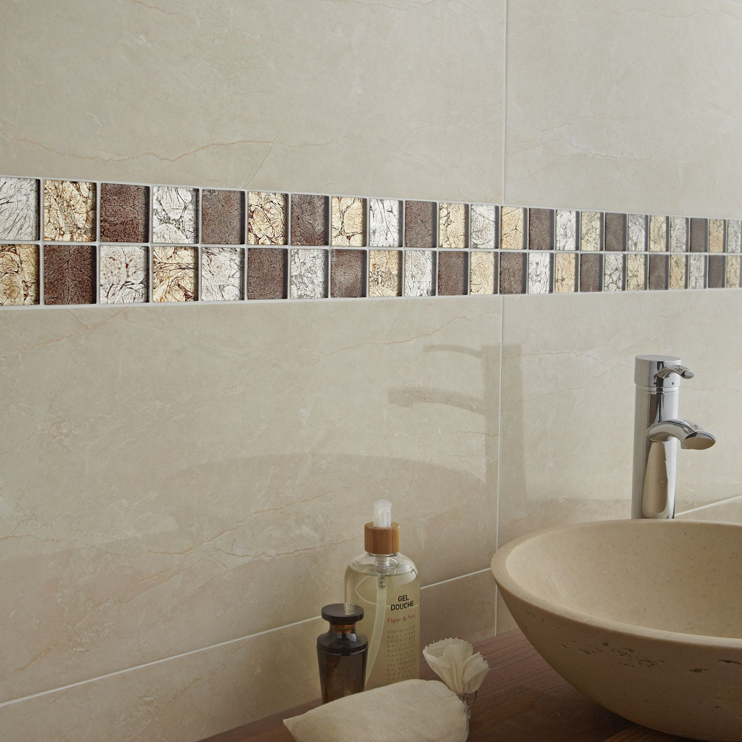 Mosa que glass select mix artens marron 5x5 cm leroy for What does salle de bain mean