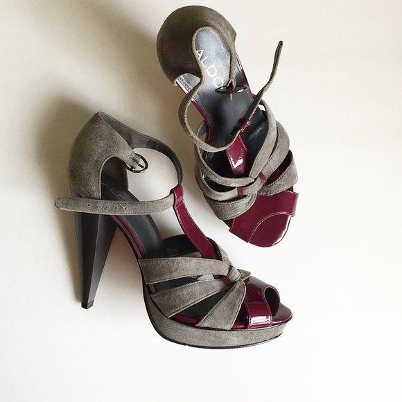 Adorable ALDO heels Plum&grey • cute strap design • unique heel shape • excellent condition ALDO Shoes Heels