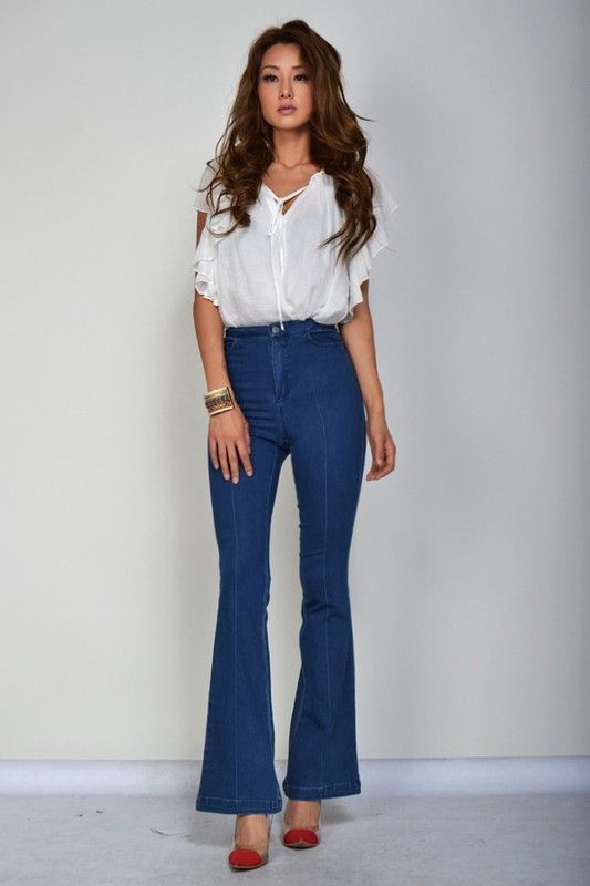 Tap into your retro side this season! Pamela Denim Fitted Wide Leg ...