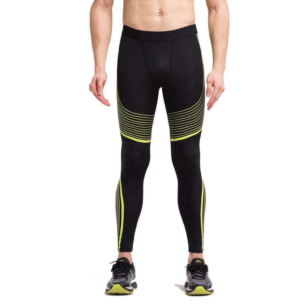 8920619af0bf7 SEEU Mens Graduated Compression Tights / Pants Base Layer Leggings Yellow,  S. Compression: