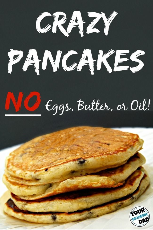 pancakes made with no eggs, butter, or oil. Ingredients: flour, baking powder, sugar, salt, milk, vanilla, chocolate chips