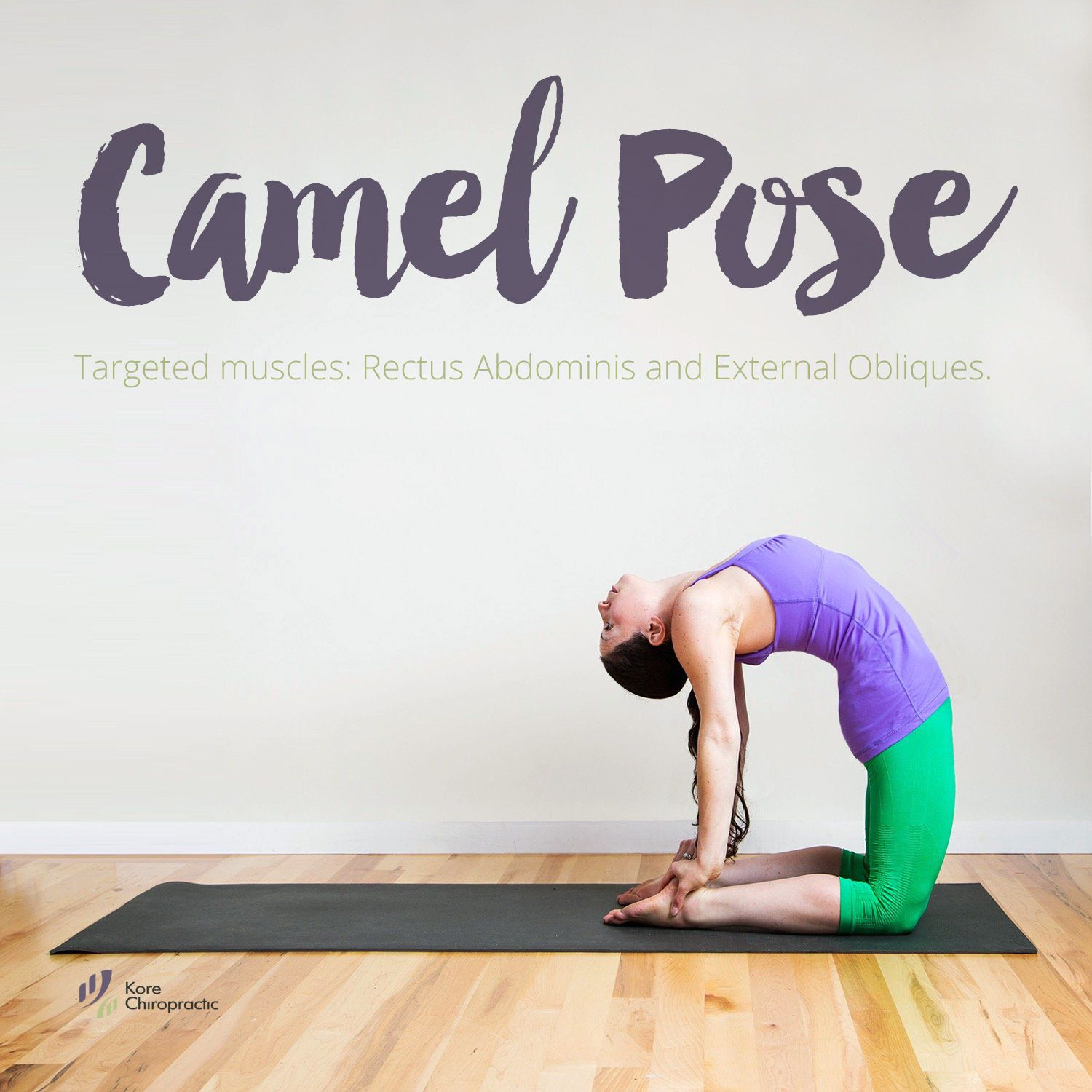 Stretching Camel Pose. Targeted muscles Rectus