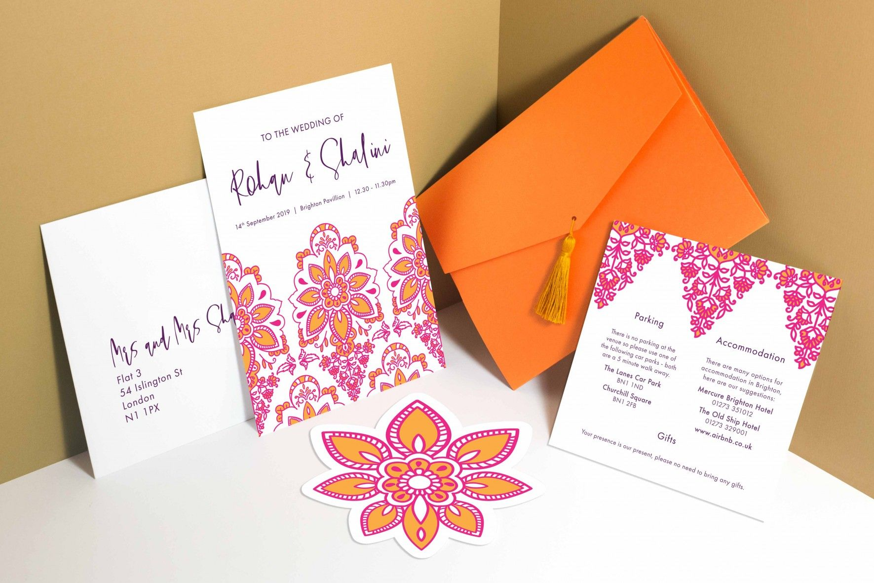 Modern Indian Inspired Pink And Orange Wedding Invitation And Stationery Orange Wedding Invitations Wedding Stationery Design Modern Indian Wedding Invitations