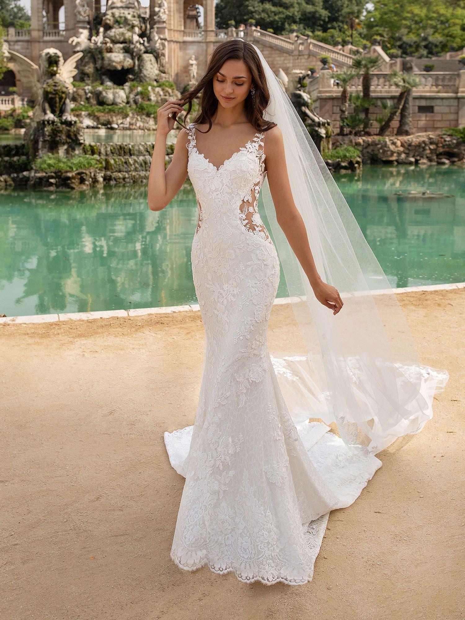 Dieses Brautkleid im Meerjungfrau-Stil umschmeichelt die Figur mit