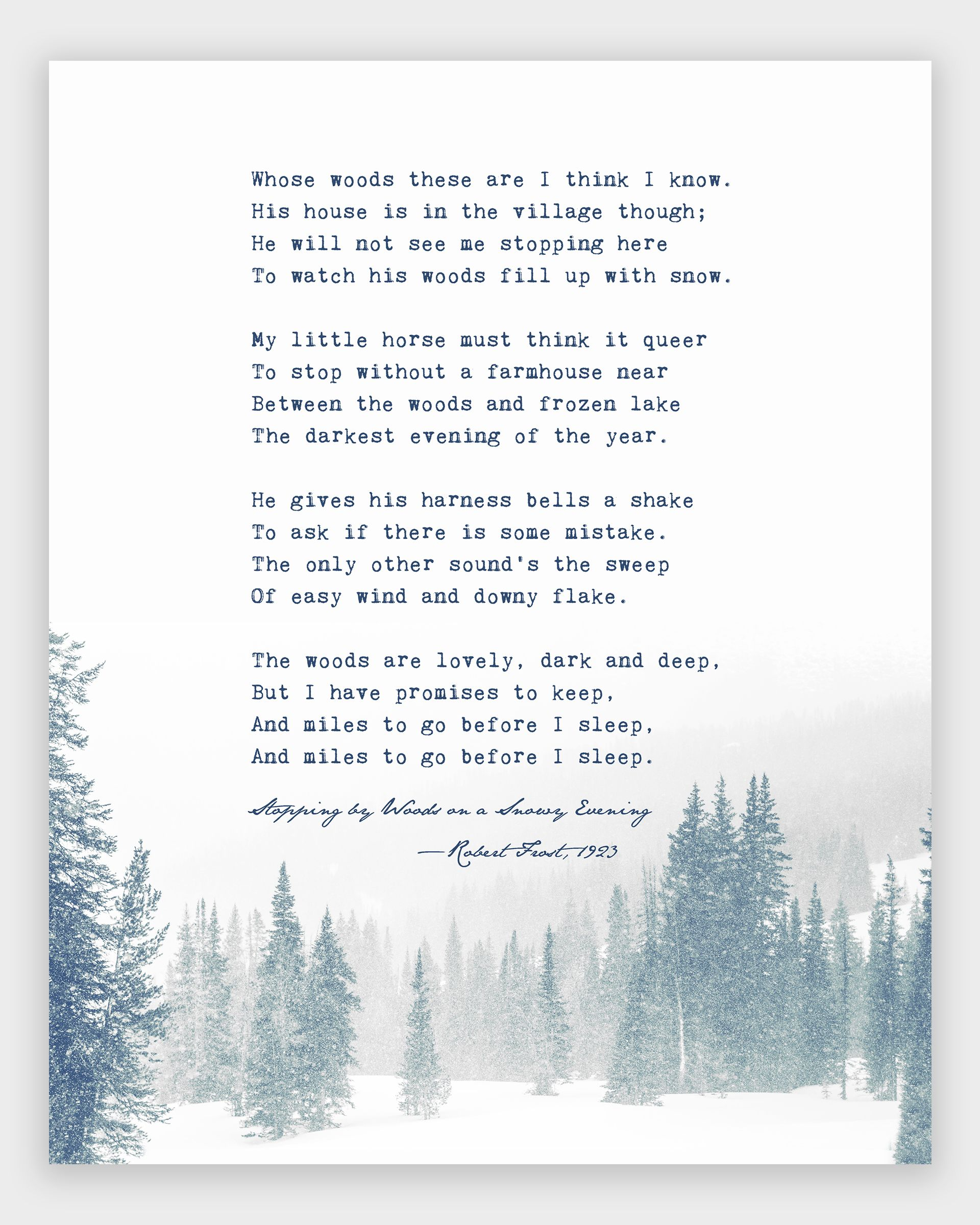 Robert Frost Poem Print, Stopping by Woods on a Snowy Evening