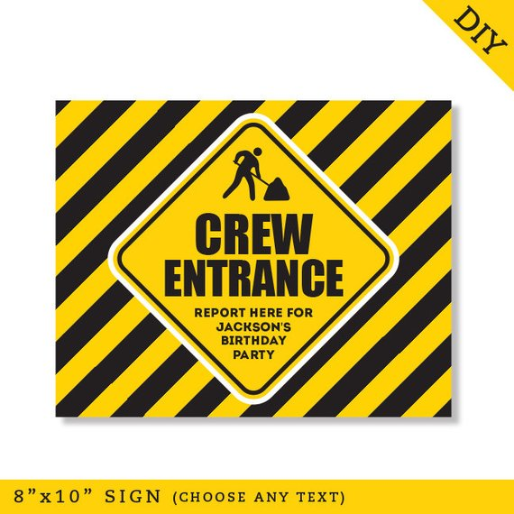 graphic regarding Printable Construction Signs called EDITABLE Fast Down load Structure Birthday Occasion Signs or symptoms