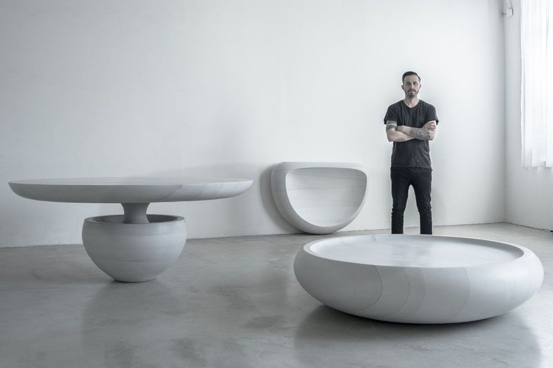 Designer Fernando Mastrangelo Has Created A Carved Concrete Furniture Collection Named Ghost T Furniture Collection Concrete Furniture Furniture Design Modern