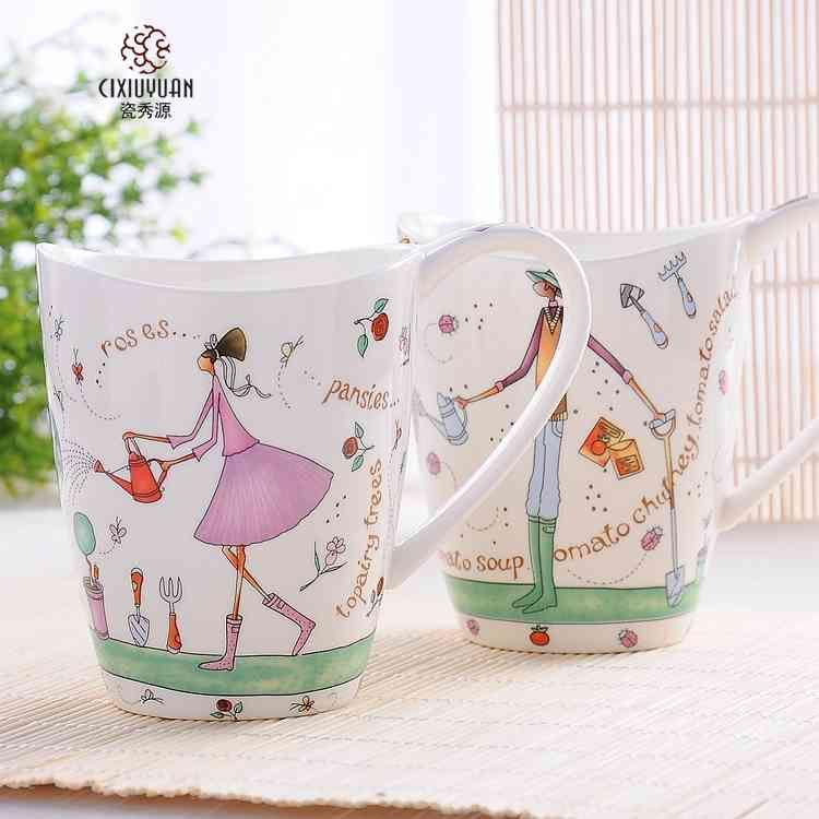 瓷秀源 创意情侣马克杯正宗骨瓷水杯陶瓷杯子可爱卡通咖啡杯奶杯-tmall.com天猫
