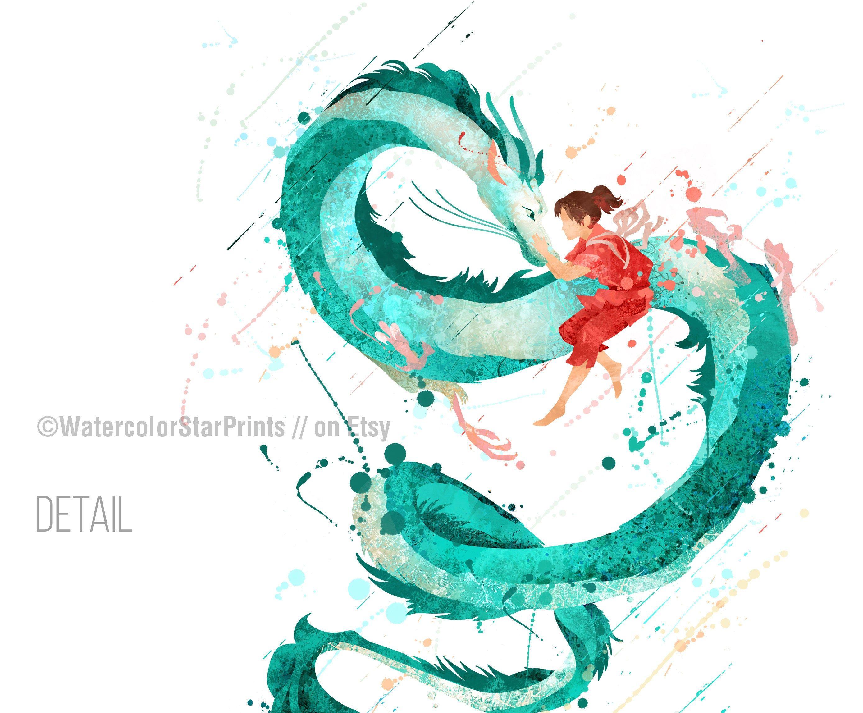 Spirited Away Poster Anime Poster Studio Ghibli Poster Haku Dragon Ghibli Poster Spirited Away Poster Studio Ghibli Poster Spirited Away Art