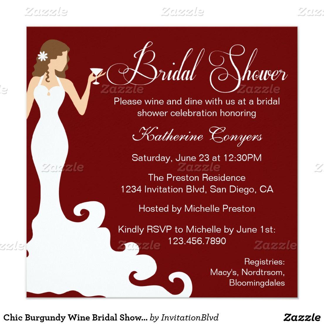 Chic Burgundy Wine Bridal Shower Invitation   Shower Ideas ...