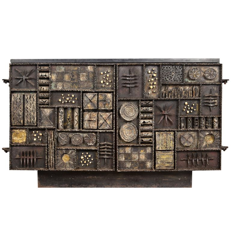Sculpture Front Cabinet By Paul Evans, USA 1969