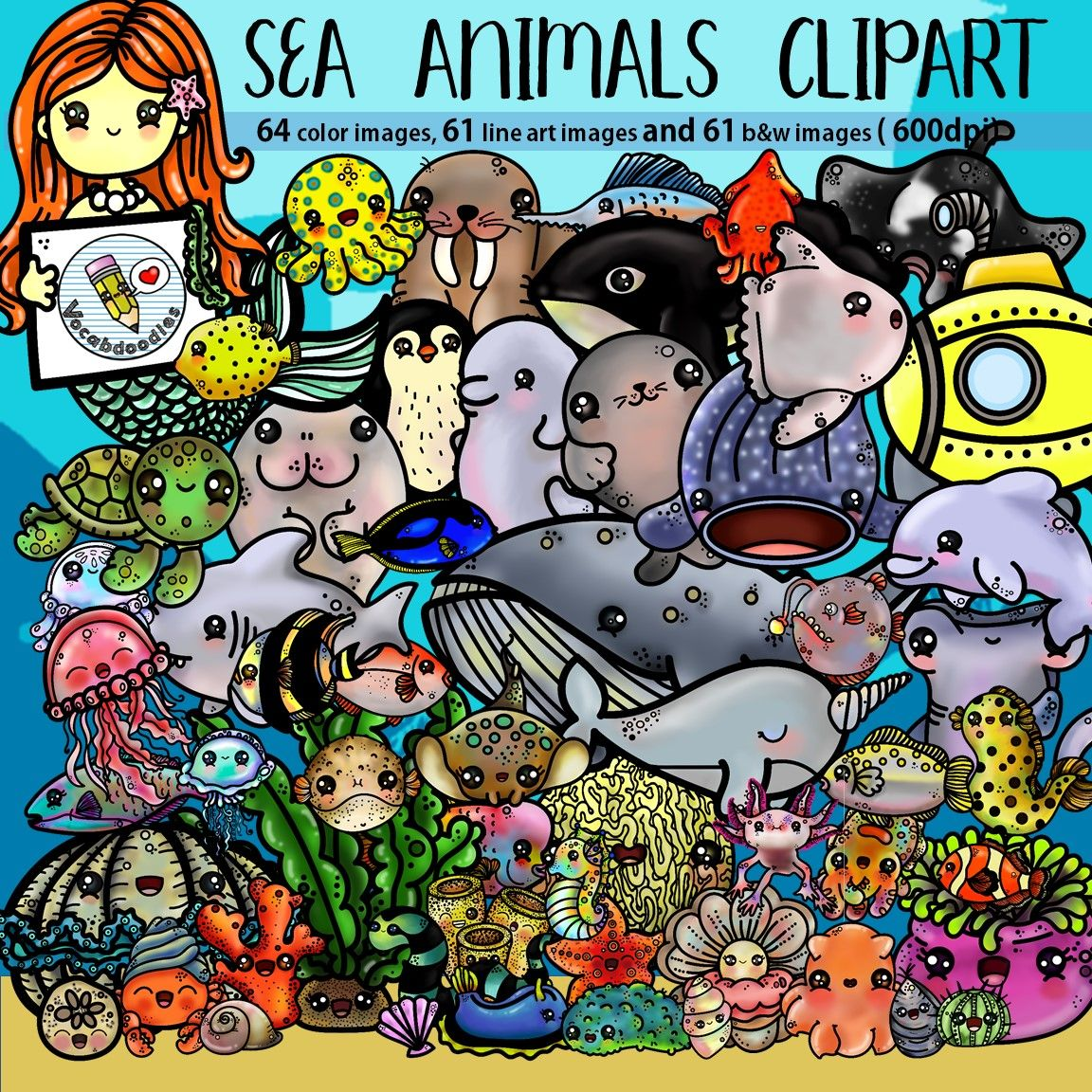 Sea Animals Clipart In