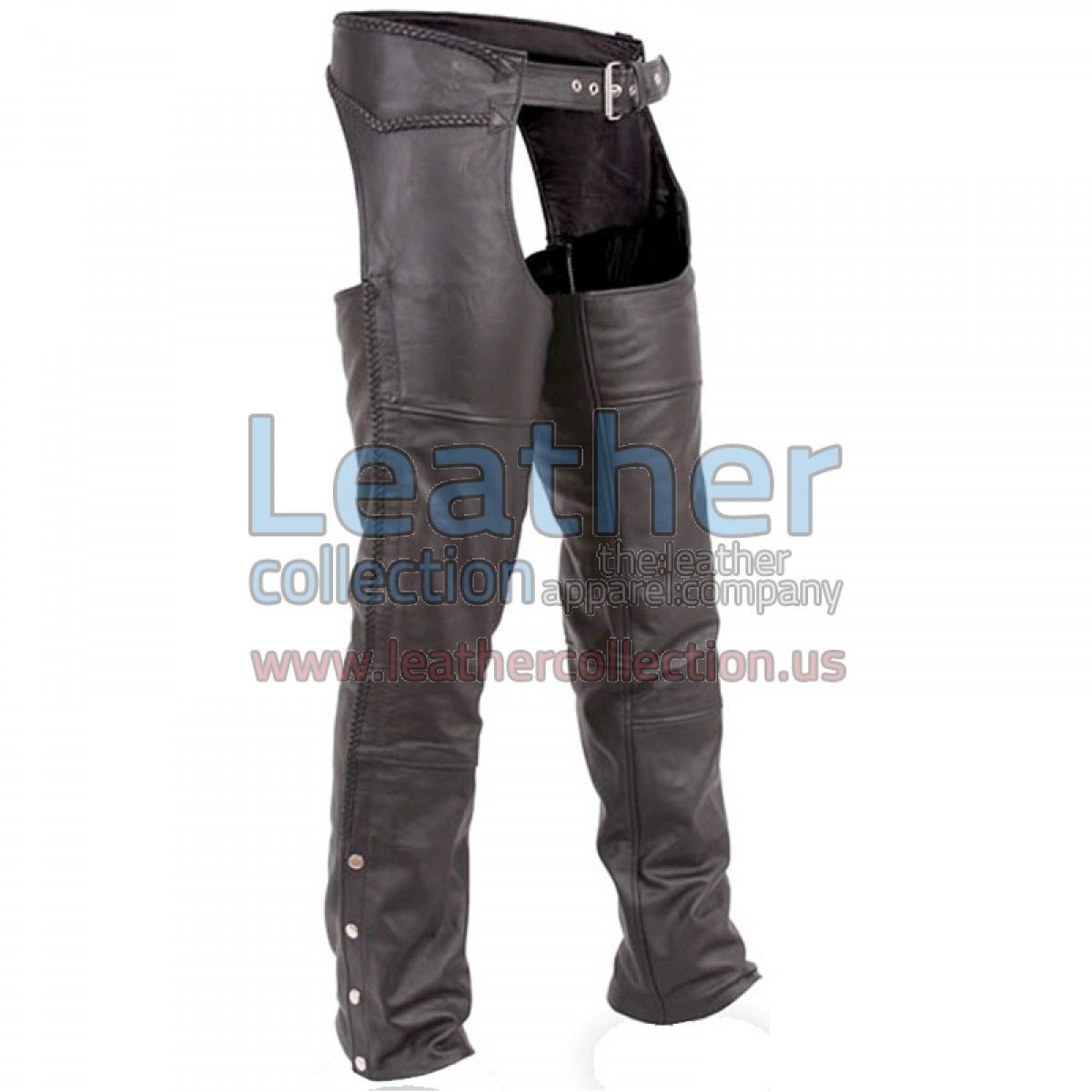 Classic Motorcycle Chaps with Braid Detail, Classic fitted, lined all the way to the knee, Great classic look and feel of high quality Top Grade cowhide leather. Unfinished hems. Wear them as they are or have them hemmed. Exclusive style and design