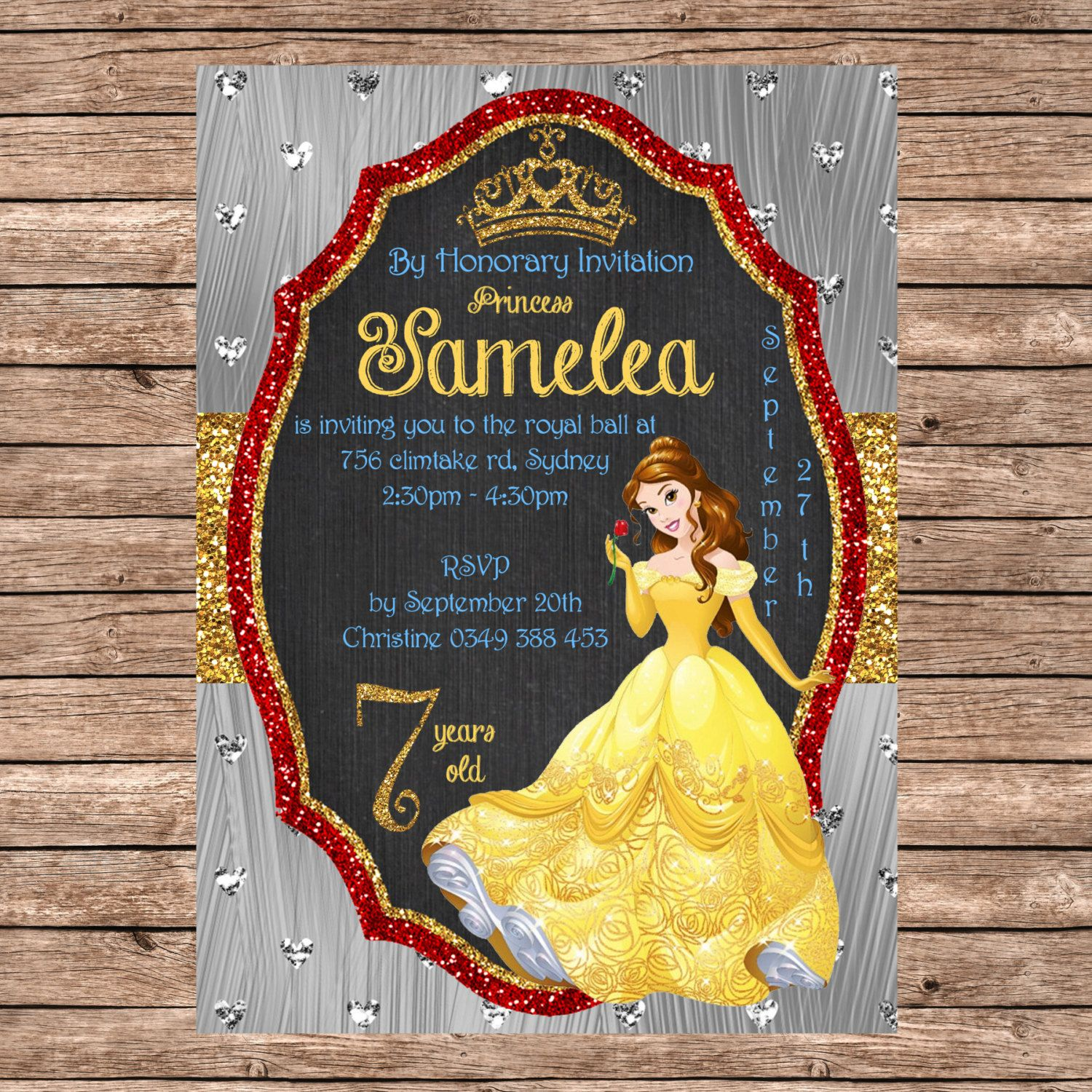 PERSONALIZED Belle, Beauty and The Beast, Disney Princess Invitation  - Instant Digital Download, Birthday Party Supplies by MemoriesbyKristieLee on Etsy