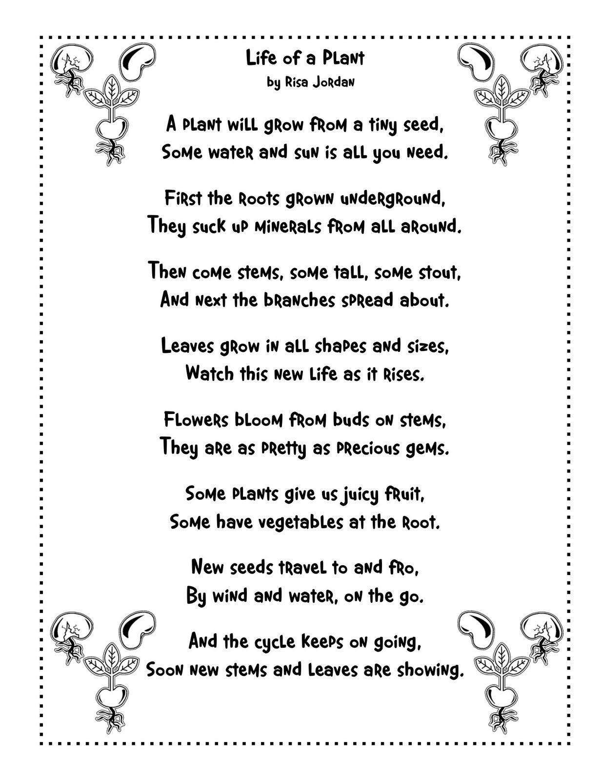 Uncategorized Poem On Flowers In English For Kids plant life cycle poem to use for language arts such a fun way get