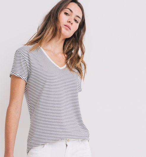 b2a76cd06ac385 T-shirt col V Femme rayé noir - Promod