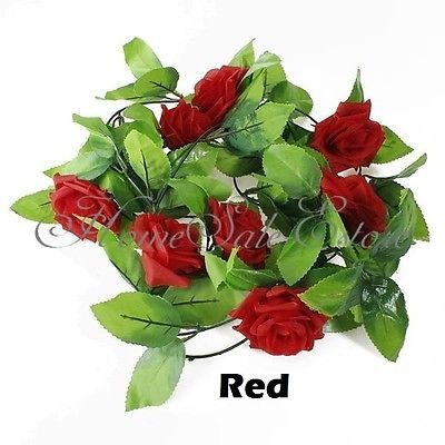 £5  8-2ft-Artificial-Silk-Rose-Flower-Ivy-Vine-Leaf-Garland-Wedding-Party-Home-Decor