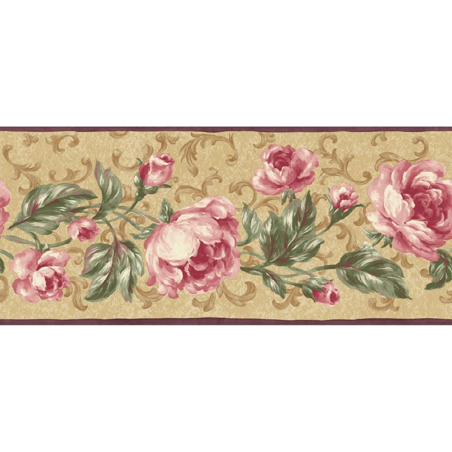 "Shop Sunworthy 9"" Floral Scroll Prepasted Wallpaper Border"