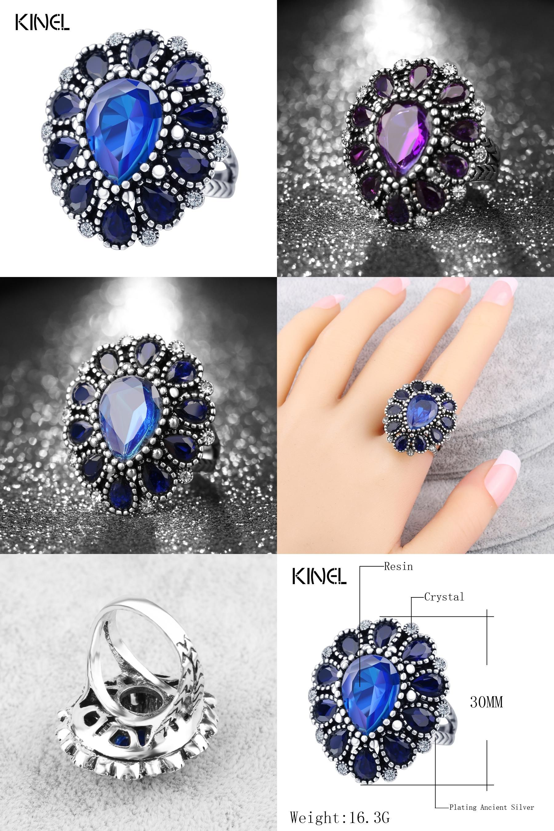 Visit To Buy Fashion Blue Crystal Flower Rings For Women Color Silver Vintage Big: Wedding Ring Art Deco Adver At Reisefeber.org