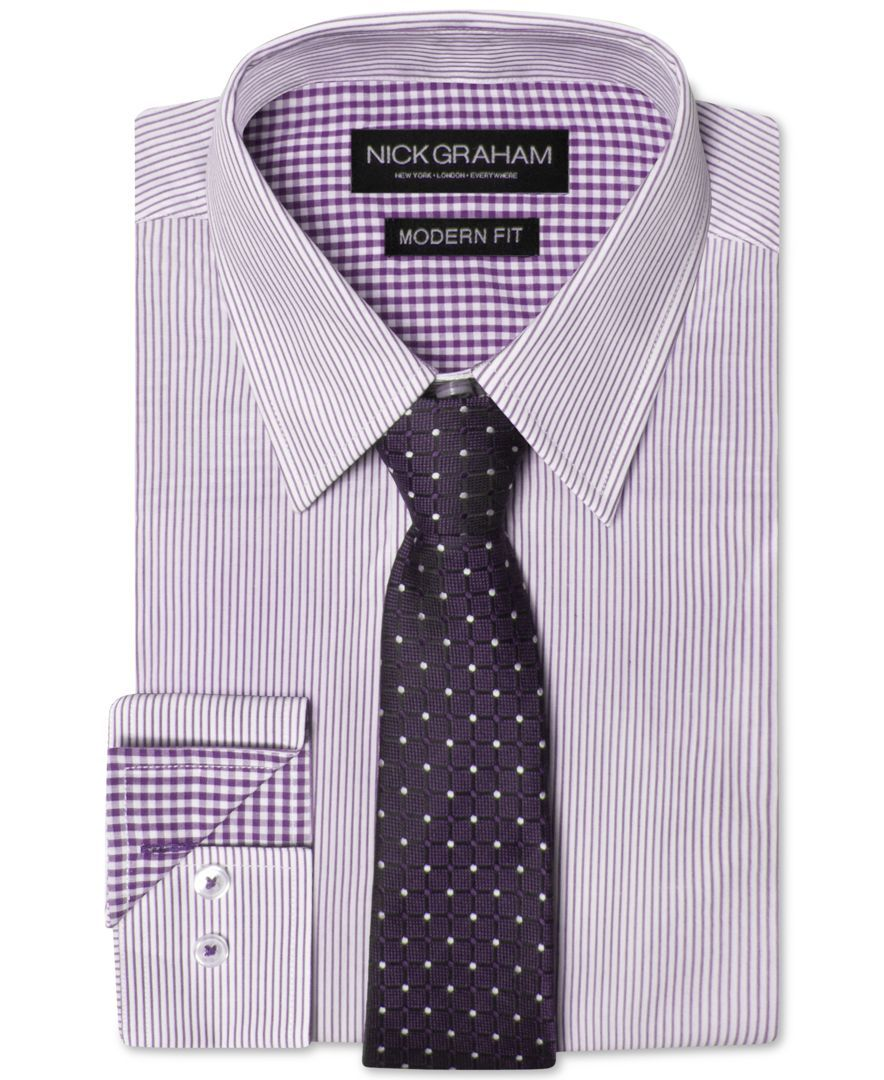 Nick Graham Men's Modern Fitted Striped Dress Shirt & Grid