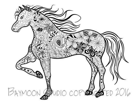 Steigerend Paard Kleurplaat Pagina Met Afdrukbaar Door