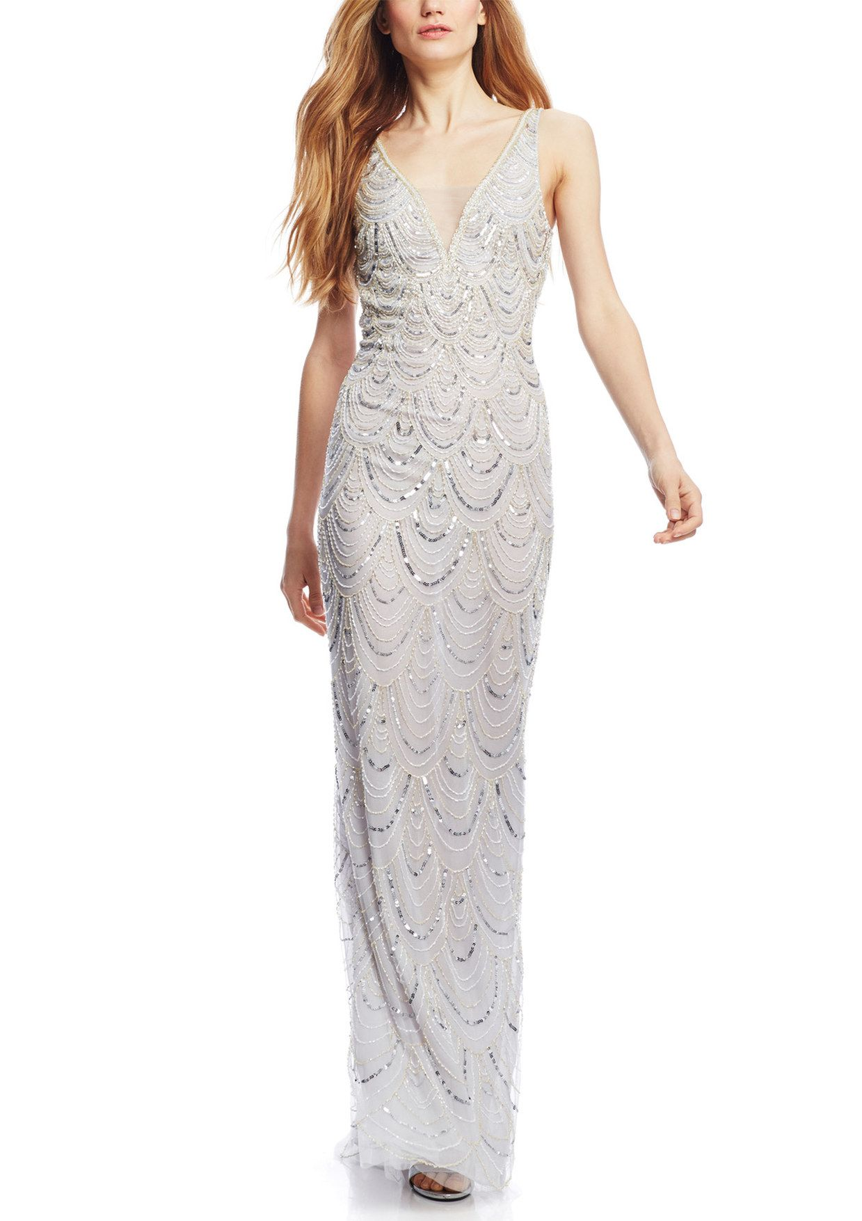 BASIX BLACK LABEL Deep V-Neck All Over Beaded Gown | ideel