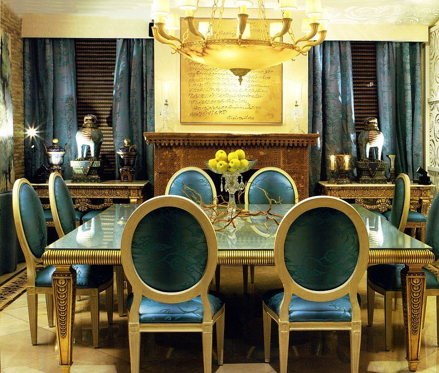 Dazzling Dining Room In Blue And Gold With Custom Drapes And Decor