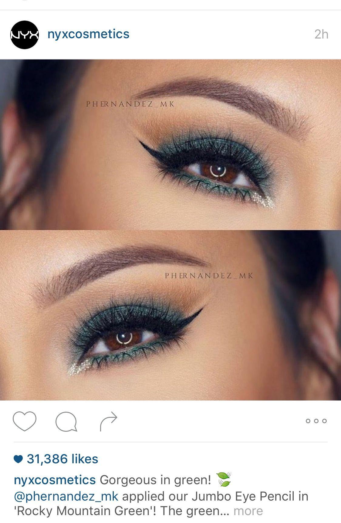 4952fa73c76 NYX jumbo eye pencil. Rocky Mountain green | beauty | Beauty, Makeup ...