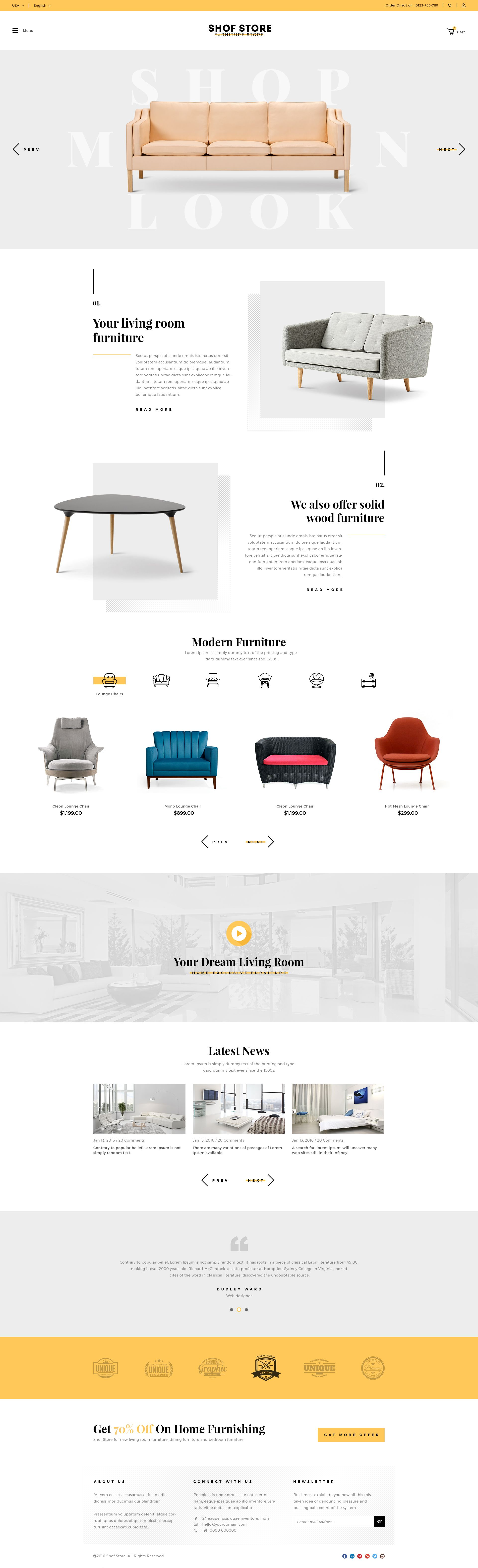 Shofstore Stylish Ecommerce Psd Template For Furniture Store Ecommerce Stylish Shofstore Psd Web Layout Design Homepage Layout Furniture Website
