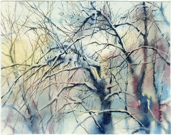 Tree watercolor painting  watercolor painting original woods