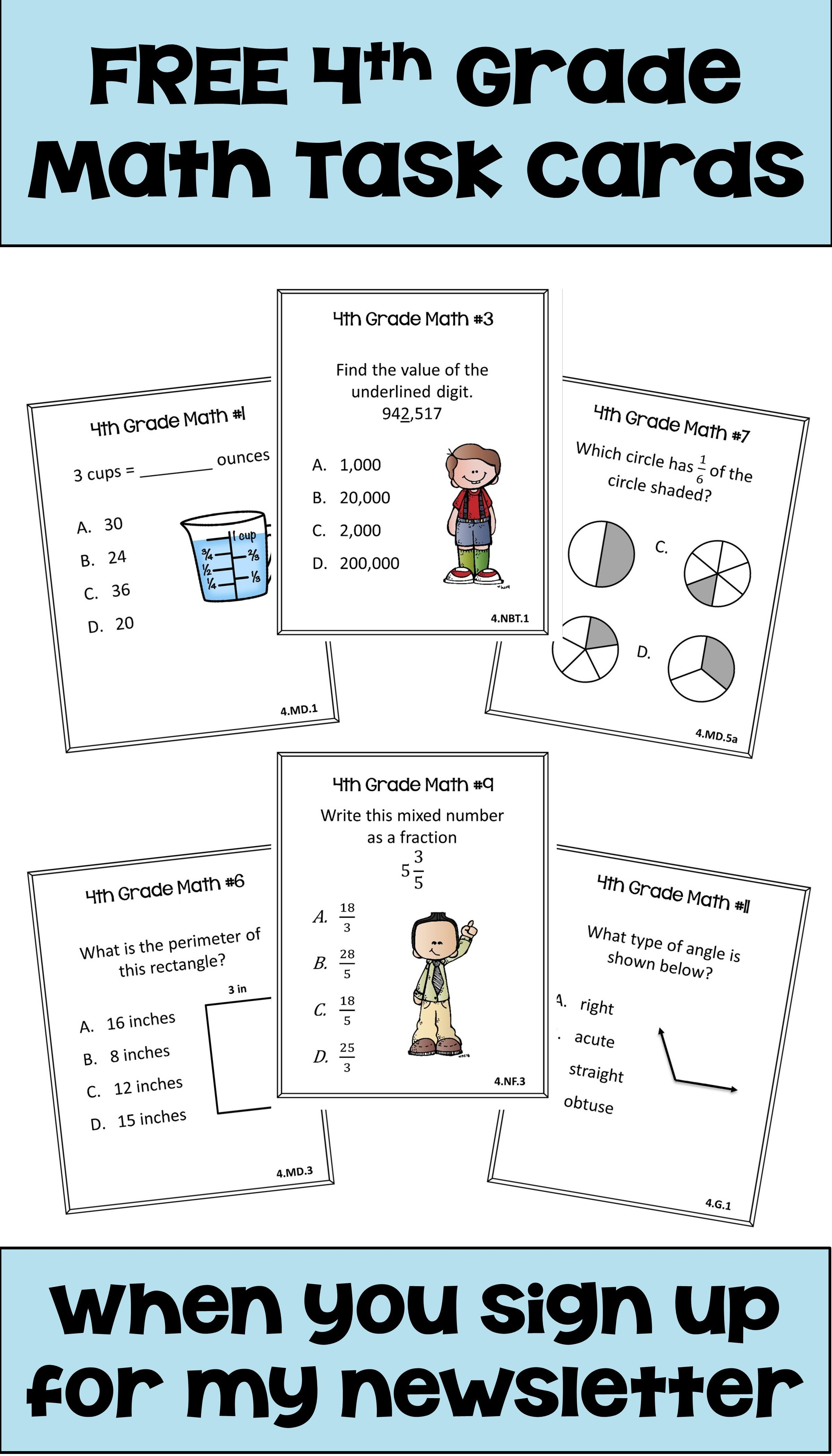 Sign Up For My Newsletter To Receive These 4th Grade Math