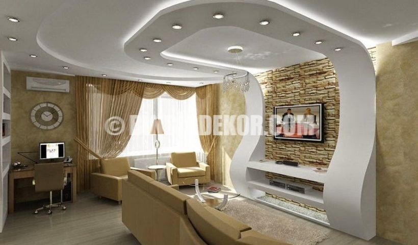 Tv Uniteli Muhtesem Asma Tavan Tasarimlari Pop False Ceiling Design Ceiling Design Modern Ceiling Design