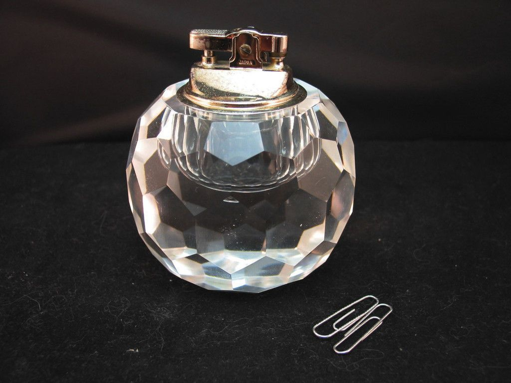 Crystal Table Lighter Large Round Faceted Clear Silver Or Paperweight 3 In Dia Light Table Clear Silver Perfume Bottles