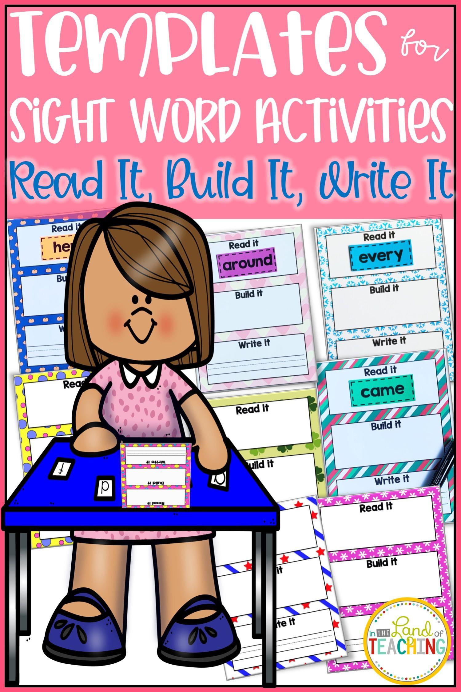 Work Mats For Sight Work Activities Sight Word Activities Work Activities Sight Words [ 2249 x 1499 Pixel ]