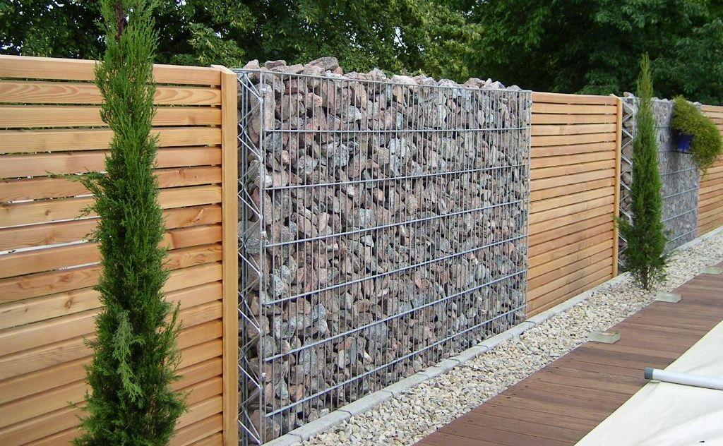 clture de jardin bois et gabion scnes de jardin - Cloture De Jardin En Bois